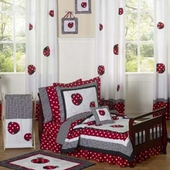 Red and White Polka Dot Ladybug Toddler Bedding - 5 pc Set