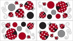 Red and White Polka Dot Little Ladybug Baby and Childrens Wall Decal Stickers - Set of 4 Sheets