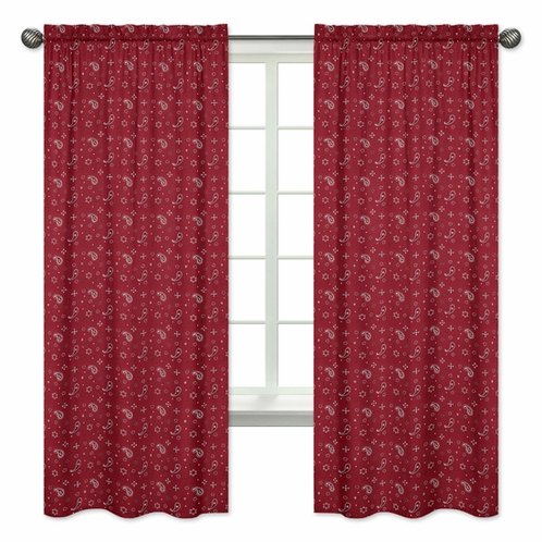 Red Bandana Window Treatment Panels for Wild West Cowboy Western Collection - Set of 2 - Click to enlarge