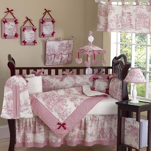 Red French Toile Baby Bedding- 9 pc Crib Set - Click to enlarge