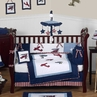 Red, White and Blue Vintage Aviator Airplane Baby Bedding - 9 pc Crib Set