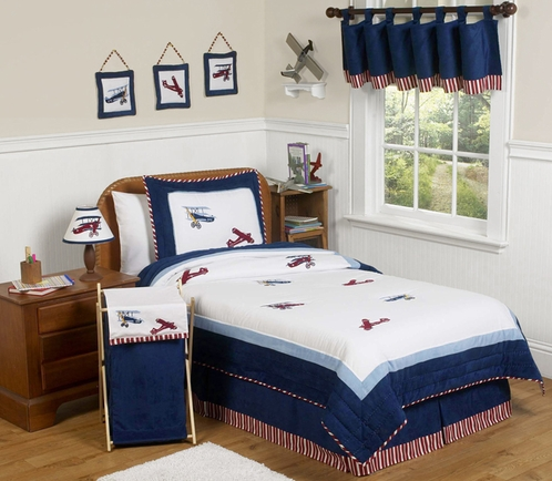 Red, White and Blue Vintage Aviator Airplane Childrens Bedding - 4 pc Twin Set - Click to enlarge