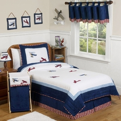Red, White and Blue Vintage Aviator Airplane Childrens Bedding - 4 pc Twin Set