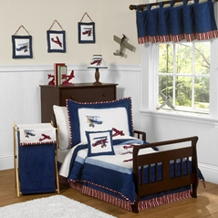 Red, White and Blue Vintage Aviator Airplane Toddler Bedding - 5 pc set