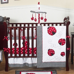 Red & White Polka Dot Ladybug Baby Bedding - 9 pc Crib Set
