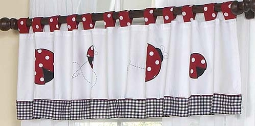 Red and White Ladybug Polka Dot Window Valance by Sweet Jojo Designs - Click to enlarge