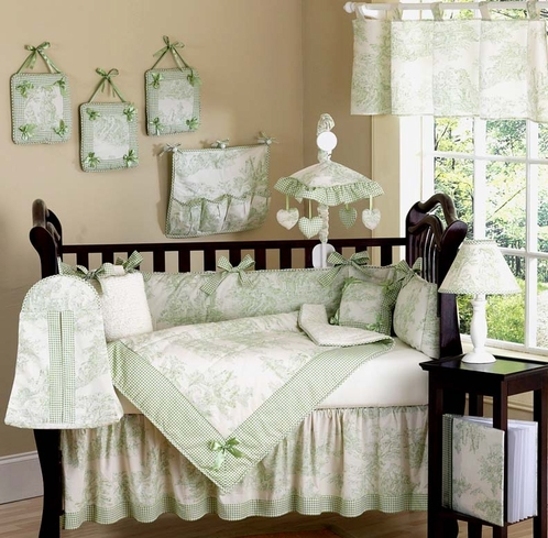 Sage French Toile Baby Bedding - 9pc Crib Set - Click to enlarge