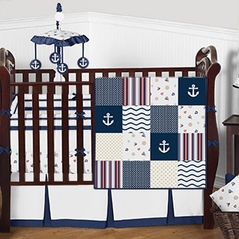 Seaside Nautical Anchors Baby Bedding - 9pc Boys Crib Set by Sweet Jojo Designs