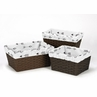 Set of 3 One Size Fits Most Basket Liners for Black and White Fox and Arrow Collection Bedding Sets by Sweet Jojo Designs