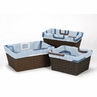Set of 3 One Size Fits Most Basket Liners for Blue and Brown Geo Collection Bedding Sets