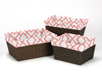 Set of 3 One Size Fits Most Basket Liners for Coral and White Diamond Bedding Sets by Sweet Jojo Designs