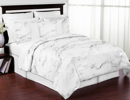 Grey Black And White Marble 3pc Teen Full Queen Bedding