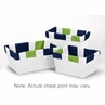 Set of 3 One Size Fits Most Basket Liners for Navy and Lime Stripe Bedding Sets