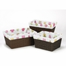 Set of 3 One Size Fits Most Basket Liners for Pink Happy Owl Bedding Sets