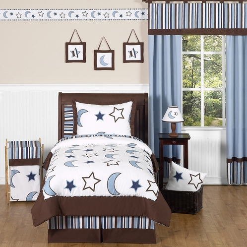 Stars and Moons Children's Bedding - 3 pc Full / Queen Set by Sweet Jojo Designs - Click to enlarge