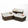 Set of 3 One Size Fits Most Basket Liners for Woodland Animal Toile Bedding Sets by Sweet Jojo Designs