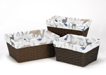 Set of 3 One Size Fits Most Basket Liners for Woodland Animals Bedding Sets by Sweet Jojo Designs