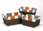Set of 3 One Size Fits Most Stripe Print Basket Liners for Gray and Orange Stripe Bedding Sets