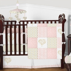 Shabby Chic Pink and Gold Heart Patch Baby Girl Bedding - 9pc Crib Set by Sweet Jojo Designs