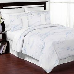 Sky Blue and White Marble 3pc Teen Full / Queen Bedding Set Collection by Sweet Jojo Designs