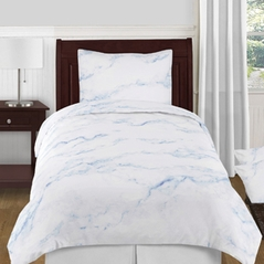 Sky Blue and White Marble 4pc Twin / Twin XL Bedding Set by Sweet Jojo Designs