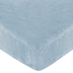 Soho Blue and Brown Fitted Crib Sheet for Baby and Toddler Bedding Sets by Sweet Jojo Designs - Solid Blue Microsuede