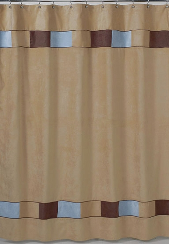 Soho Blue And Brown Kids Bathroom Fabric Bath Shower Curtain Only