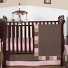 Soho Pink and Brown Baby Bedding - 11pc Crib Set