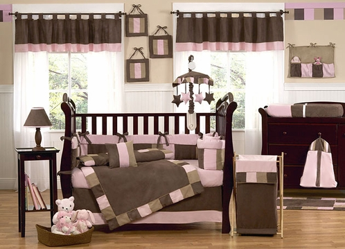 Soho Pink and Brown Baby Bedding - 9 pc Crib Set - Click to enlarge