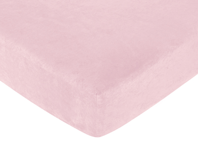 Soho Pink Fitted Crib Sheet for Baby and Toddler Bedding Sets by Sweet Jojo Designs - Solid Pink Microsuede - Click to enlarge
