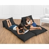 Solid Black Floor Pillow Case Lounger Kids Teen Cushion Cover by Sweet Jojo Designs