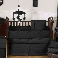 Solid Black Minky Dot Baby Bedding - 9pc Crib Set by Sweet Jojo Designs