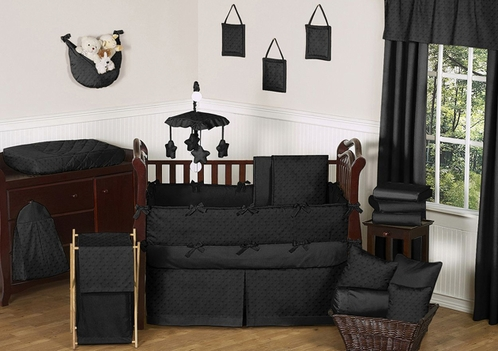 Solid Black Minky Dot Baby Bedding - 9pc Crib Set by Sweet Jojo Designs - Click to enlarge