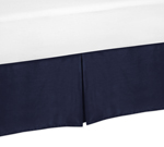 Solid Blue Queen Bed Skirt for Orange and Navy Arrow Bedding Sets