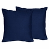 Solid Navy Decorative Accent Throw Pillows for Navy and Lime Stripe Collection - Set of 2