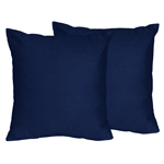 Solid Navy Decorative Accent Throw Pillows for Stripe Collection - Set of 2