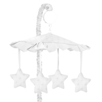 Solid White Minky Dot Musical Baby Crib Mobile by Sweet Jojo Designs