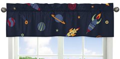 JoJo Designs Space Galaxy Window Valance - Navy