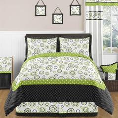 Spirodot Lime and Black Childrens and Kids Bedding - 3pc Full / Queen Set by Sweet Jojo Designs