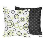 Spirodot Lime and Black Decorative Accent Throw Pillow by Sweet Jojo Designs