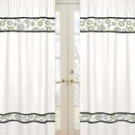 Spirodot Lime and Black Window Treatment Panels by Sweet Jojo Designs - Set of 2