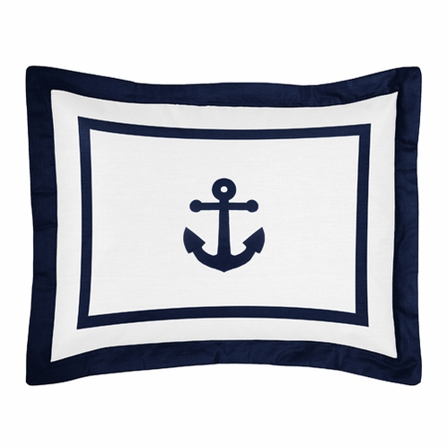 Standard Pillow Sham for Anchors Away Nautical Bedding by Sweet Jojo Designs - Click to enlarge