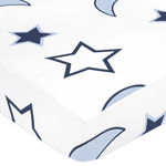 Starry Night Fitted Crib Sheet for Baby/Toddler Bedding Sets - Stars and Moons Print