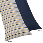 Modern Robot Navy and Stripe Full Length Double Zippered Body Pillow Case Cover
