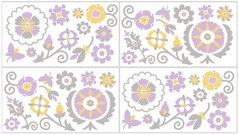 Suzanna Baby, Childrens and Kids Wall Decal Stickers by Sweet Jojo Designs - Set of 4 Sheets