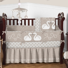 Taupe and White Swan Lake Baby Bedding - 9 pc Crib Set by Sweet Jojo Designs
