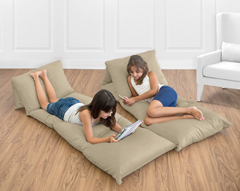 Taupe Kids Teen Floor Pillow Case Lounger Cushion Cover by Sweet Jojo Designs