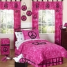 Tie Dye Pink Groovy Peace Sign Bedding for Children - 4 pc Twin Set