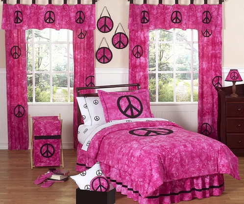 Tie Dye Pink Groovy Peace Sign Bedding For Children 4 Pc