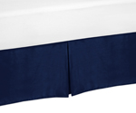 Toddler Bed Skirt for Navy Blue and Gray Stripe Kids Childrens Bedding Sets